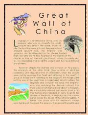 English Worksheet: Wonder of the World Story series 3 ( Great Wall of China)