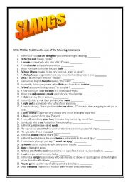 English Worksheet: SLANG WORDS