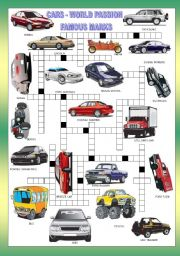 English Worksheets: CARS CROSSWORD  + KEY