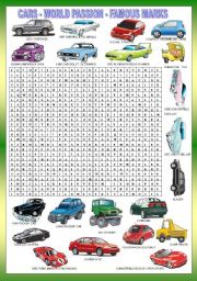 English Worksheet: CARS WORDSEARCH + KEY