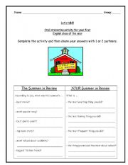 English Worksheet: Oral Interaction Activity for the 1st class of the year