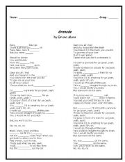 English Worksheets: Grenade by Bruno Mars