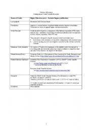 English Worksheet: undergraguate transfer information