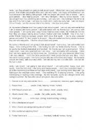 English Worksheets: Student Self-Portrait Worksheet