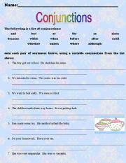 English Worksheets: Conjunctions ** Key Answers Included ***