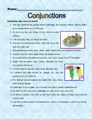 Conjunction worksheets for grade 4 with answers