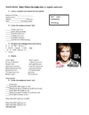 English Worksheet: Baby when the lights. David Guetta