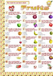 English Worksheet: Fruits-Quiz