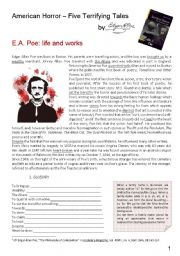 English Worksheets: Poe_The Pit and the Pendulum_The Black Cat