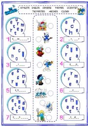 English Worksheets: Jobs with The Smurfs
