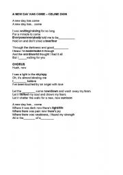 English Worksheets: A new day has come - Celine Dion