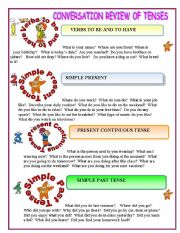 English Worksheet: REVIEW OF TENSES