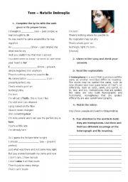 English Worksheet: Torn - Natalie Imbruglia (Verb tense and homophones)