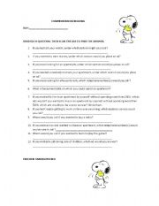 English worksheet: READING COMPREHENSION QUESTIONNAIRE