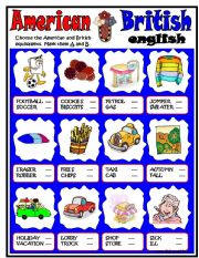 English Worksheets: American-British ENGLISH