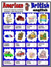 English Worksheet: American-British ENGLISH
