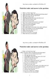 English Worksheets: Mr Bean Back to school