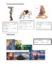 English Worksheet: MOVIE- TANGLED