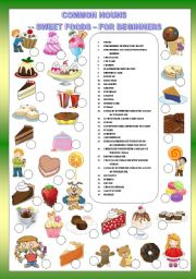 English Worksheets: COMMON NOUNS  SWEET FOODS - FOR BEGINNERS + KEY