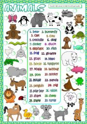 English Worksheets: Animals - matching (B&W included)