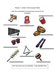 english worksheets name the percussion instruments. Black Bedroom Furniture Sets. Home Design Ideas