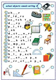 school objects vowels writing 3