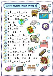 English Worksheet: school objects vowels writing 1
