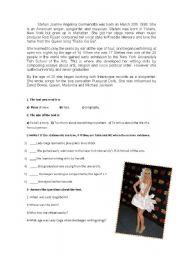 English Worksheets: Lady Gaga biography