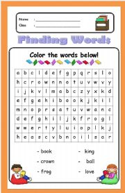 English Worksheets: Finding Words