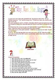 English Worksheets: Why was she angry?