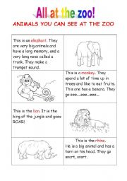 English Worksheets: All at the zoo