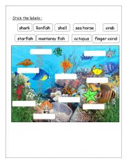 English Worksheets: work sheet for sea creatures