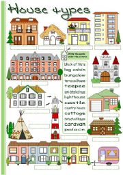 English Worksheets: House types