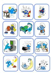 English Worksheets: Smurf Daily RoutineFlashcards (picture + words)