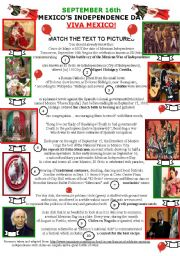 English Worksheet: MEXICO�S INDEPENDENCE DAY