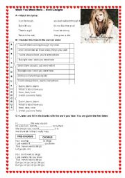 English Worksheet: WISH YOU WERE HERE - AVRIL LAVIGNE