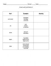 English Worksheet: Greek and Latin Roots 1