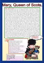 English Worksheets: MARY, QUEEN OF SCOTS.