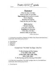 english worksheets poetry devices quiz grade 9. Black Bedroom Furniture Sets. Home Design Ideas