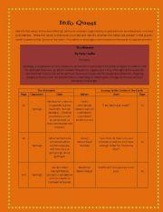English Worksheets:  Alchemist Paulo Coelho ( Info Quest series 4)