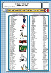English Worksheet: Professions, countries, nationalities and verb To Be