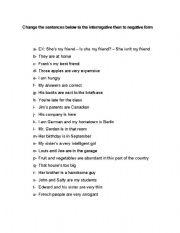 English Worksheets: Affirmative x Interrogative