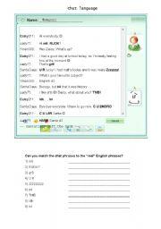 English Worksheets: chat language part 1