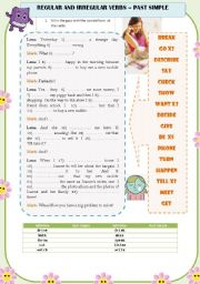 Past simple - regular and irregular verbs exercises with key