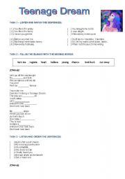 English Worksheets: Katy Perry - Teenage Dream