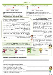 English Worksheet: USED TO - Grammar guide+exercises