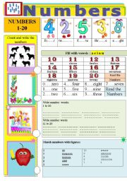 English Worksheet: Numbers 1 to 20