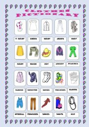 English Worksheet: Clothes pictionary
