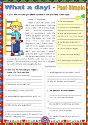English Worksheet: What a day!   -  Past Simple