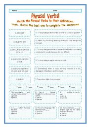> Phrasal Verbs Practice 57! > --*-- Definitions + Exercise --*-- BW Included --*-- Fully Editable With Key!